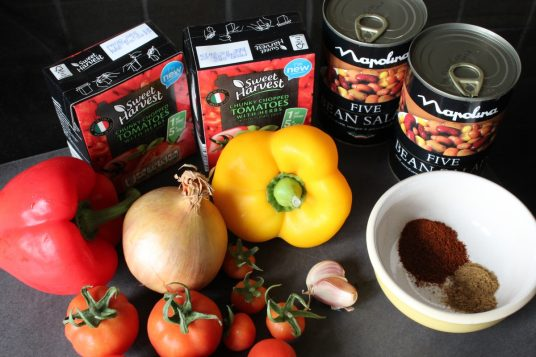 Five Bean Vegetarian Chilli Ingredients