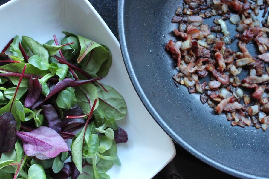 salad leaves plus crispy onions and bacon