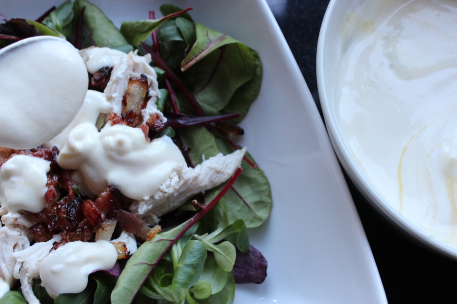 bacon and chicken salad with dressing
