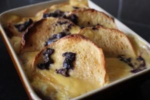 Blueberry and brioche bread pudding